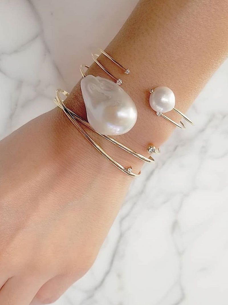 Sea of Beauty Collection.  White Pearl and Diamond Cuff SBA86W