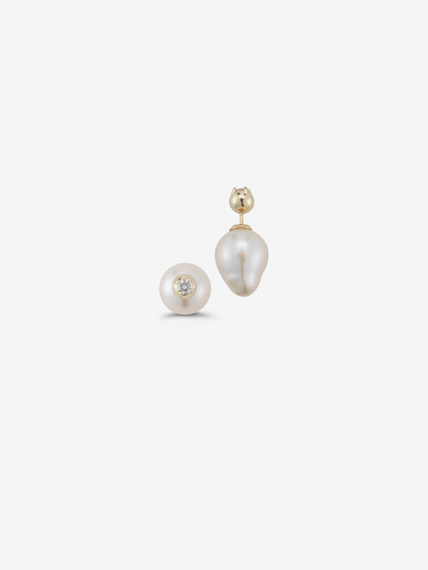 Sea of Beauty Collection.  Diamond and Pearl Front to Back Earrings  SBE108W