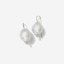Sea of Beauty Collection.  French wire Large White Pearl and Diamond Earrings  SBE11L