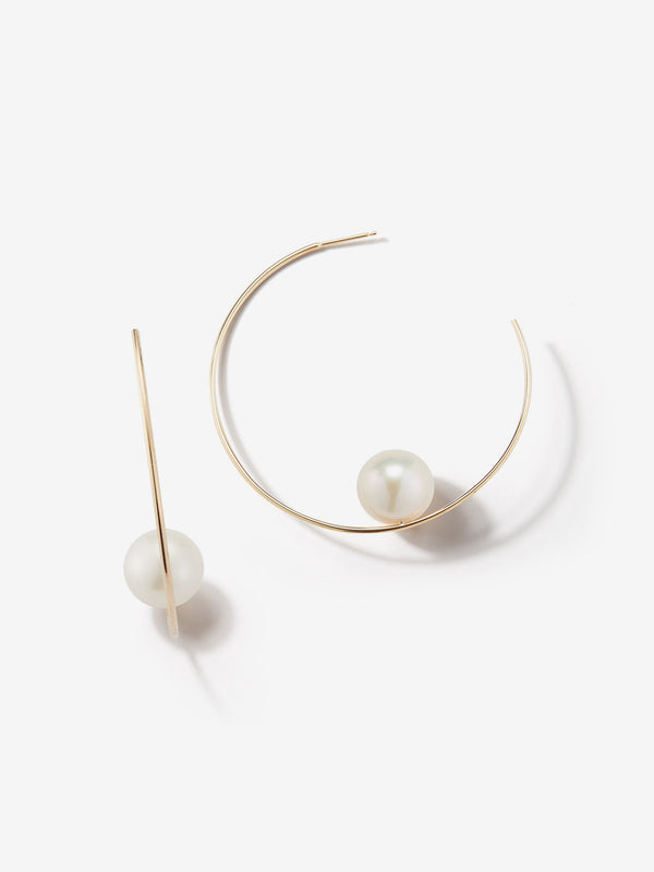 Sea of Beauty Collection.  Floating White Pearl Hoop Earrings  SBE125W