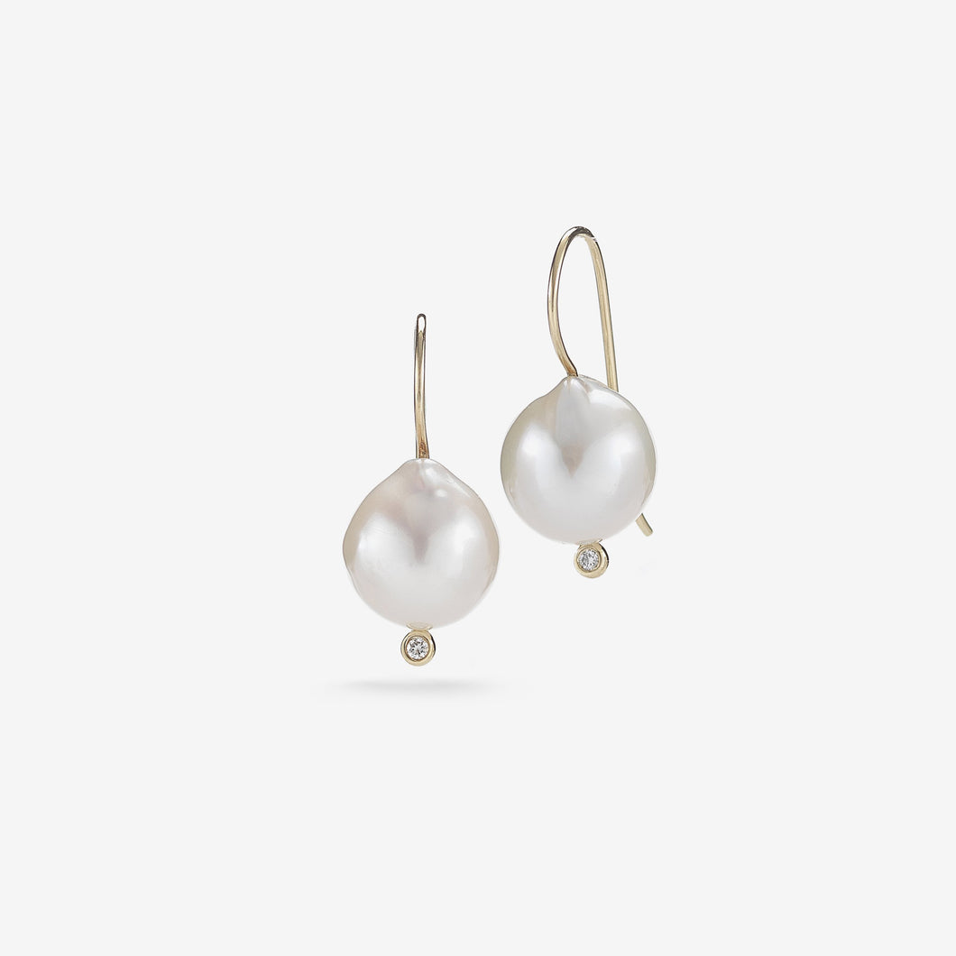 Sea of Beauty Collection.  French wire White Pearl and Diamond Earring