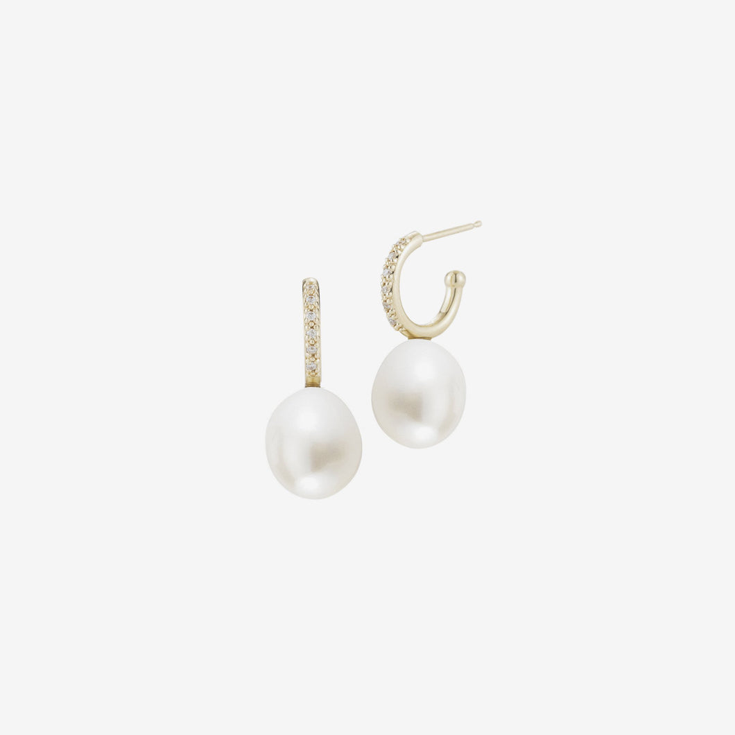 Sea of Beauty Collection.  Small Diamond Hoop White Pearl Earring
