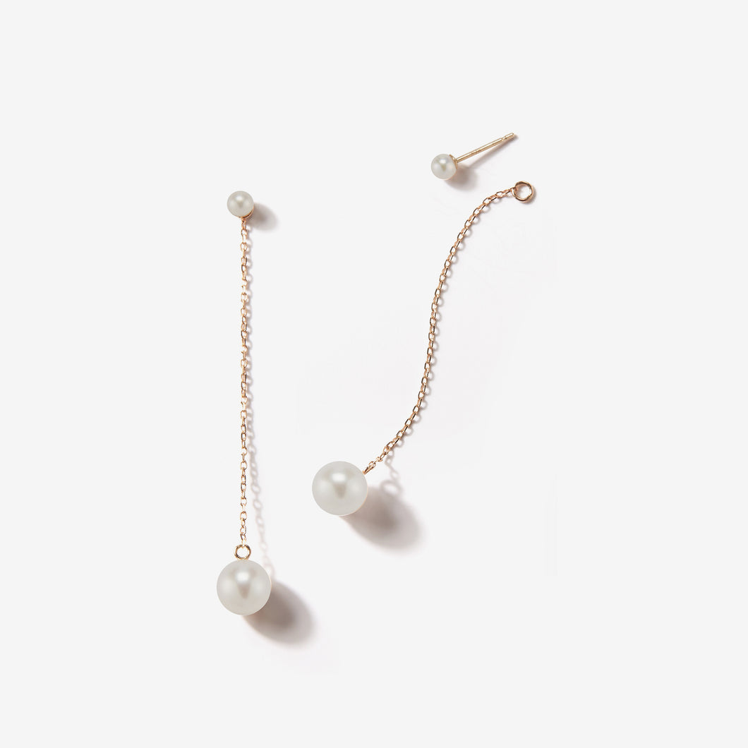 e0389d85c9520 Sea of Beauty Collection. Hanging Chain and Pearl Stud with White Pearl  Earrings SBE174W-PAIR