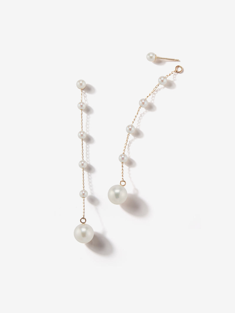 Sea of Beauty Collection.  Pearl Stud with a Pearl Chain Drop Earrings  SBE183