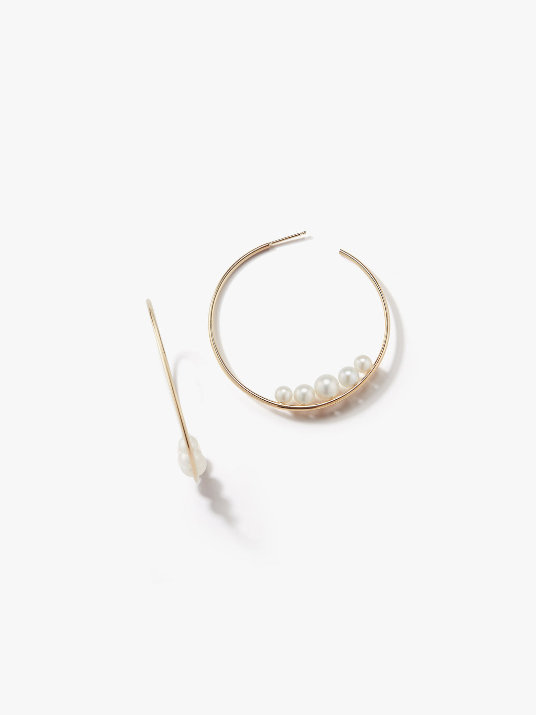 Sea of Beauty Collection.  Medium Graduating Floating Pearl Hoop Earrings  SBE192