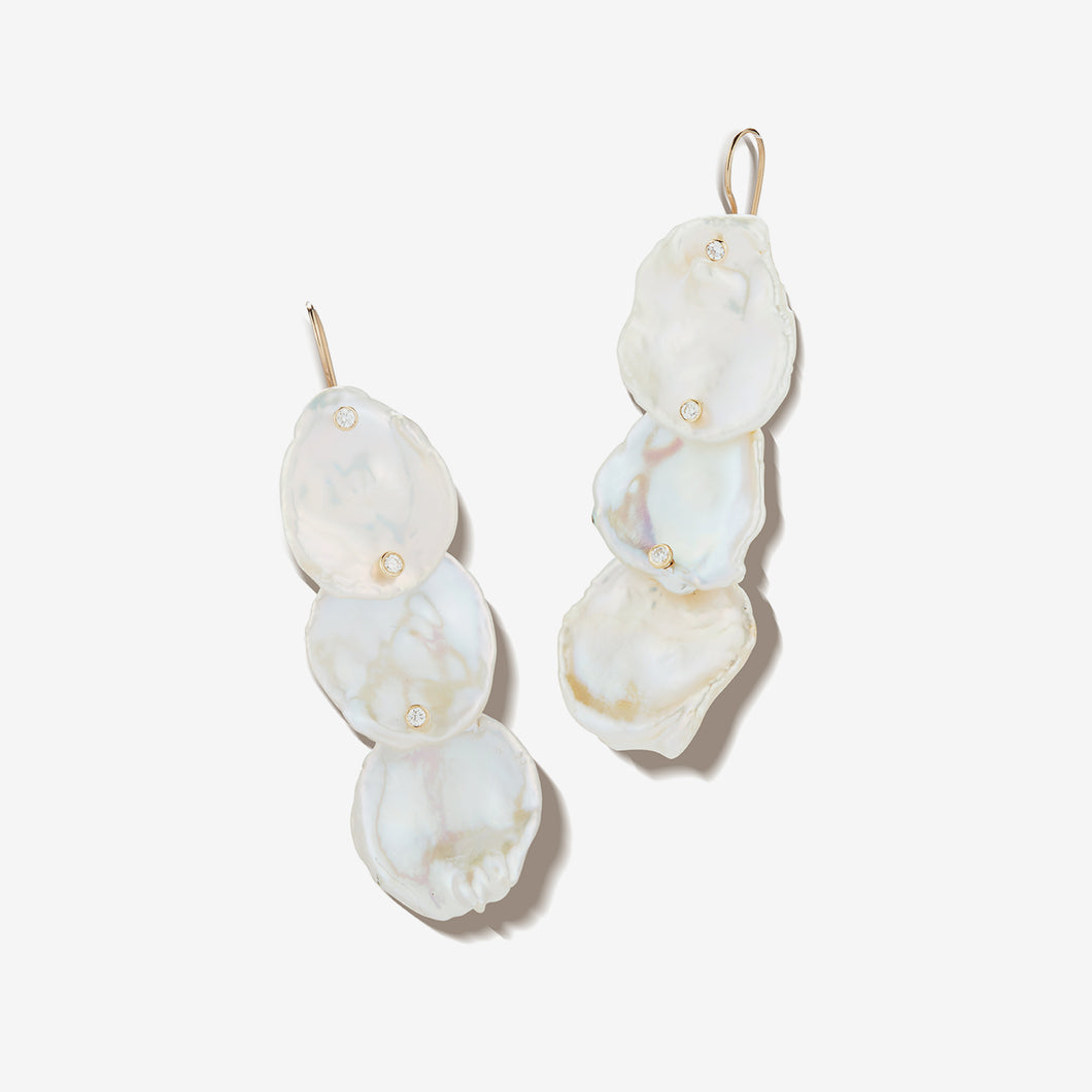 Sea of Beauty Collection.  Triple Petal Pearl and Diamond Earring