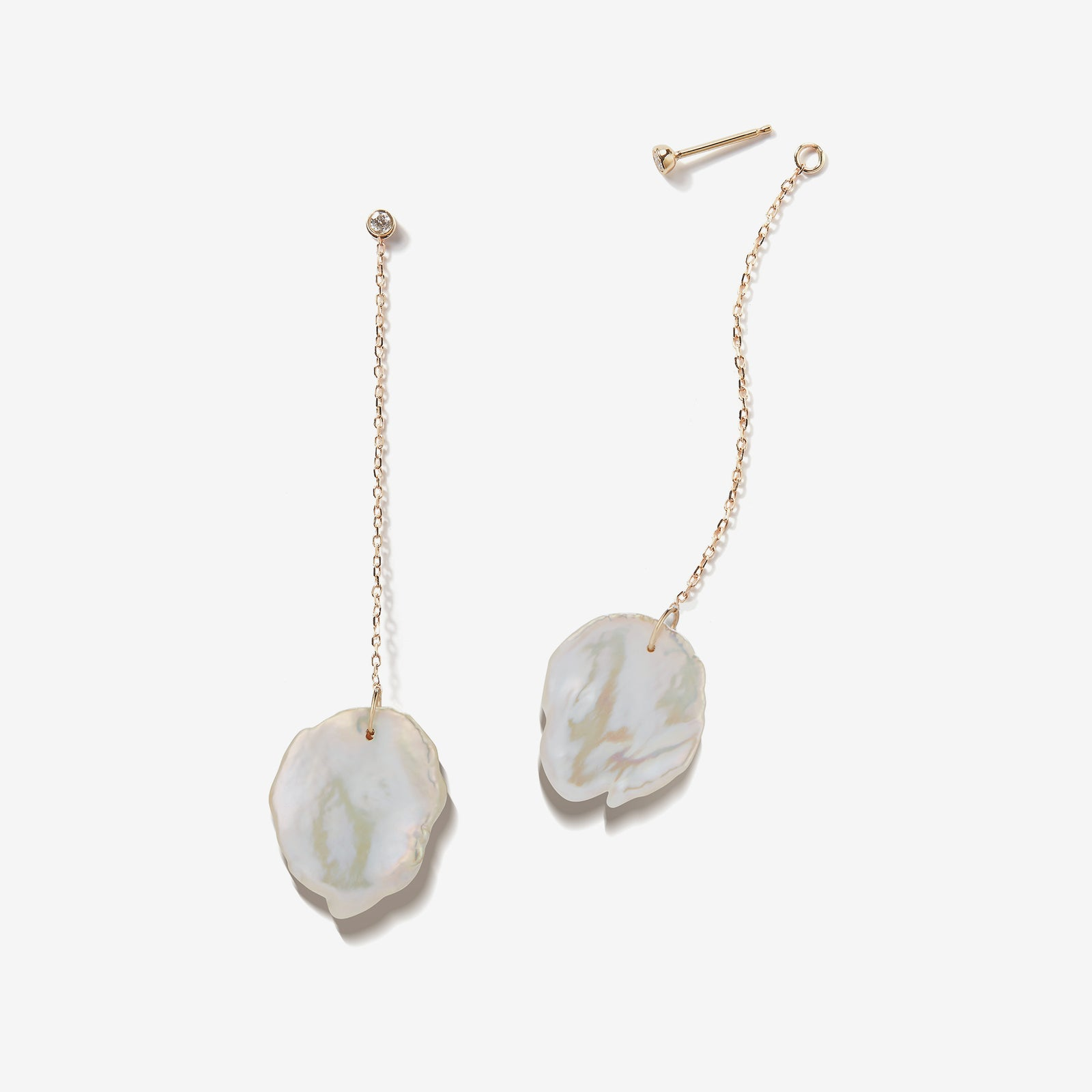 Sea of Beauty Collection.  Hanging Petal Pearl and Diamond Earring