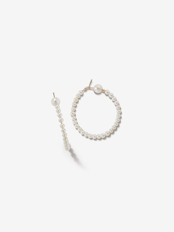 Sea of Beauty Collection.  Medium All Pearl Hoop Earrings  SBE212