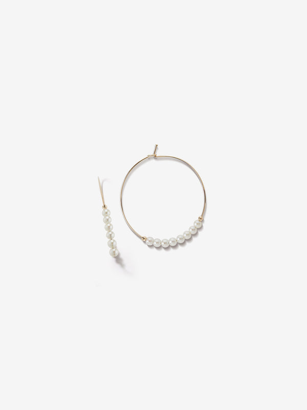 Sea of Beauty Collection.  Medium Pearl Hoop Earrings  SBE215