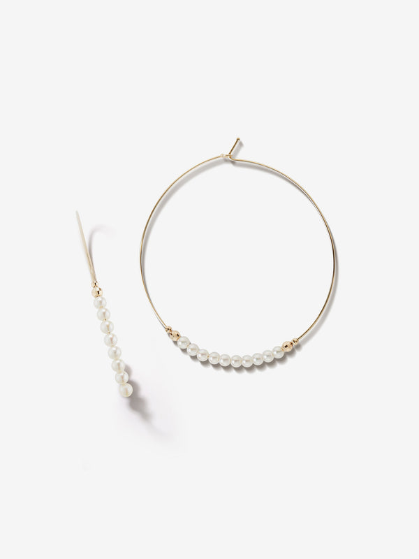 Sea of Beauty Collection.  Large Pearl Hoop Earrings  SBE216