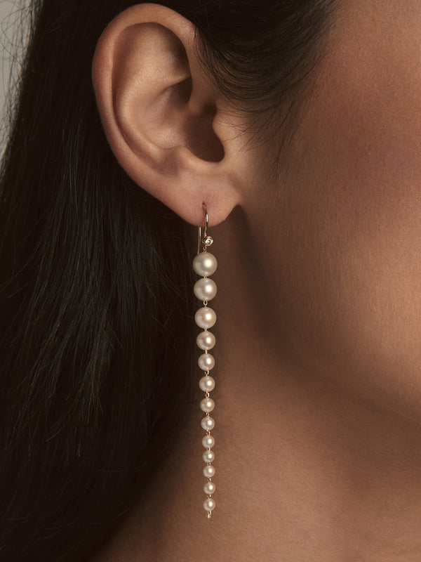 Sea of Beauty Collection.  Graduating Pearl and Diamond Earrings  SBE222S