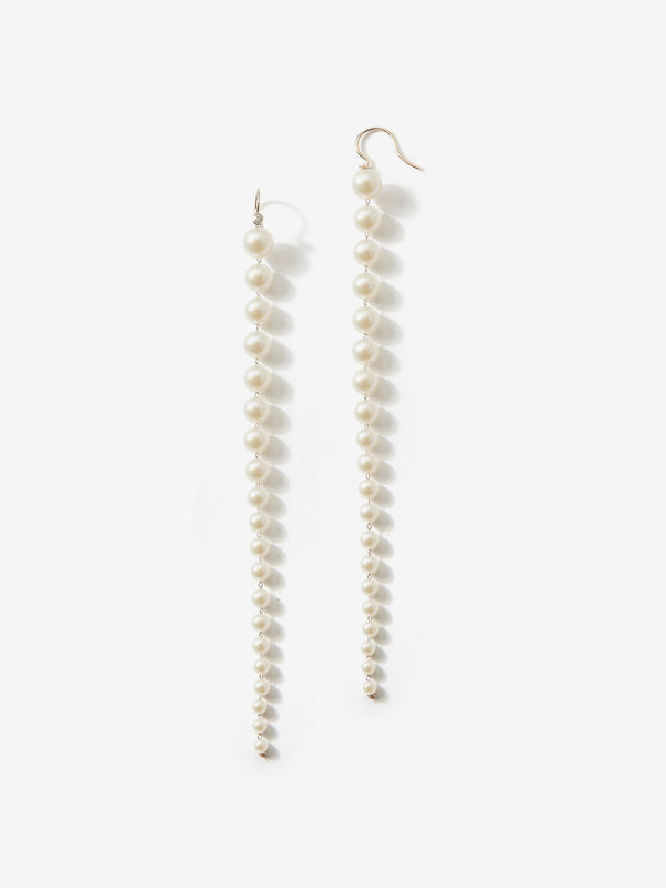 Sea of Beauty Collection.  Graduating Pearl and Diamond Shoulder Duster Earrings  SBE222