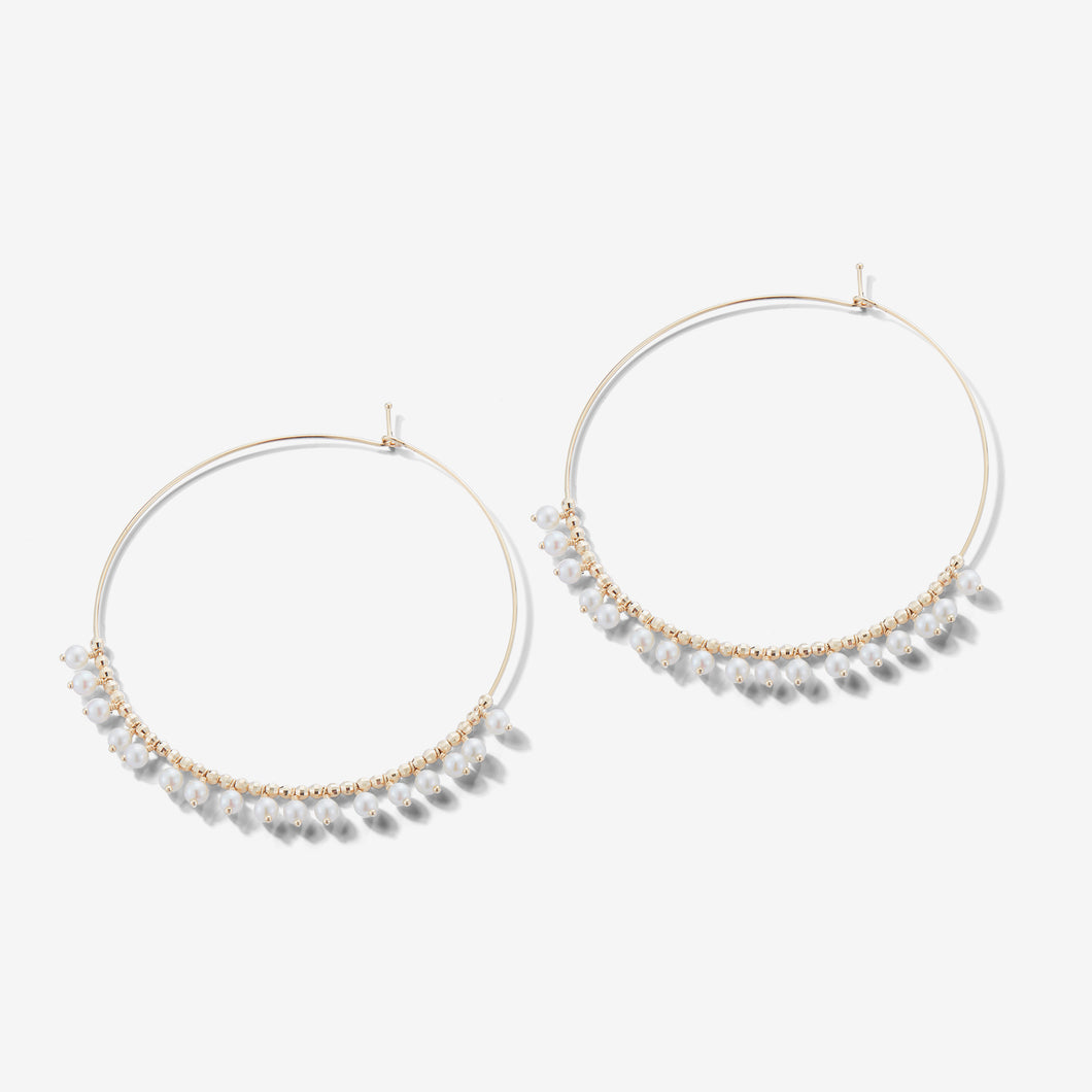 Sea of Beauty Collection.  Extra Large Pearl Fringe Hoop Earrings  SBE225