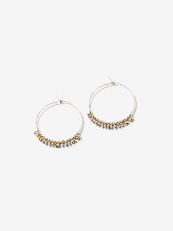 Sea of Beauty Collection.  Medium Gold Bead Fringe Hoop Earrings  SBE226