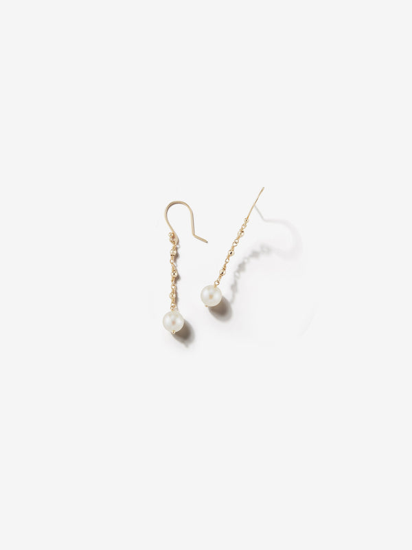 Sea of Beauty Collection.  Pearl and Gold Bead Wrap Drop Earrings  SBE229