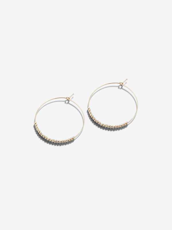 Sea of Beauty Collection.  Gold Bead Hoop Earrings  SBE233