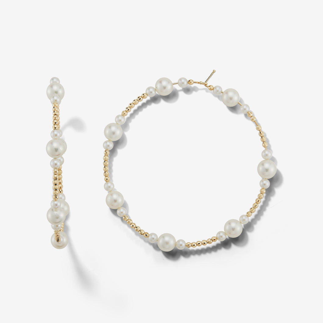 Sea of Beauty Collection.  Large Cut Bead and Pearl Hoops SBE239