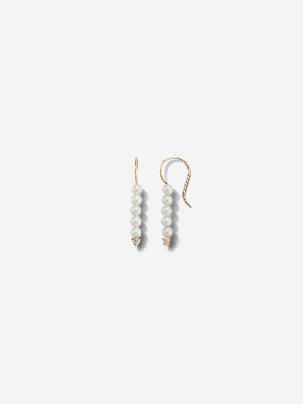 Sea of Beauty Collection.  Small Pearl and Diamond Bar Earrings SBE254