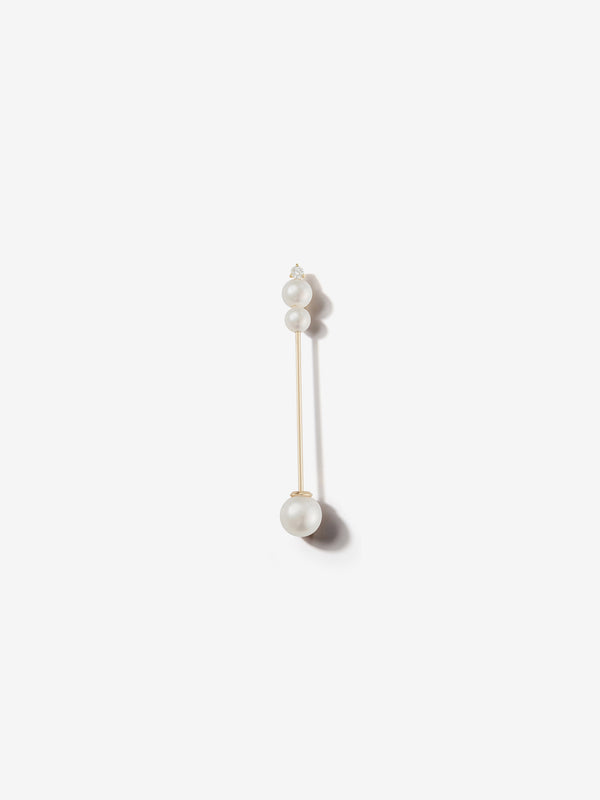 Sea of Beauty Collection.  Single Medium Kanzashi Pearl and Diamond Earring SBE267-SINGLE