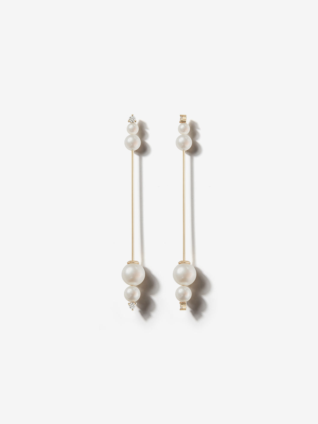 Sea of Beauty Collection.  Large Kanzashi Pearl and Diamond Earrings SBE268