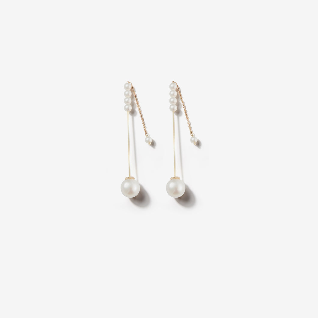 Sea of Beauty Collection.  Minimalist Kanzashi Pearl Drop Earrings SBE270