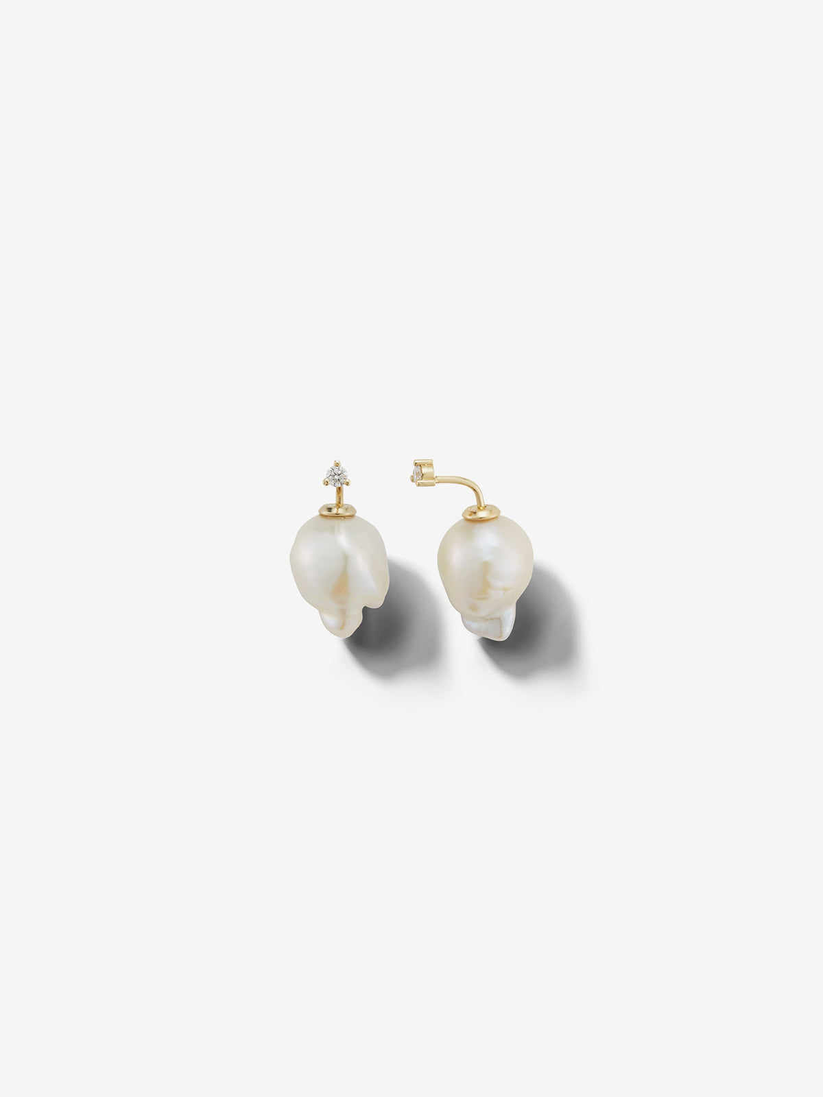 Sea of Beauty Collection.  Baroque Pearl and Diamond Horizon Earrings SBE272B