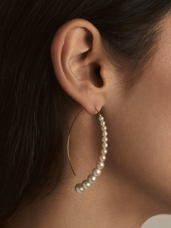 Sea of Beauty Collection. Graduated Pearl Open Marquis Earrings SBE278