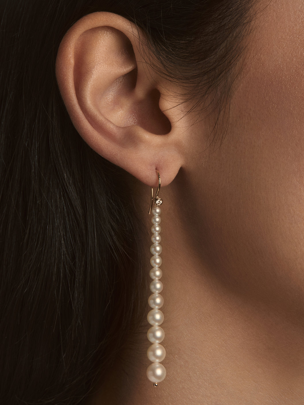 Sea of Beauty Collection. Graduated Pearl with Diamond Earrings SBE279S