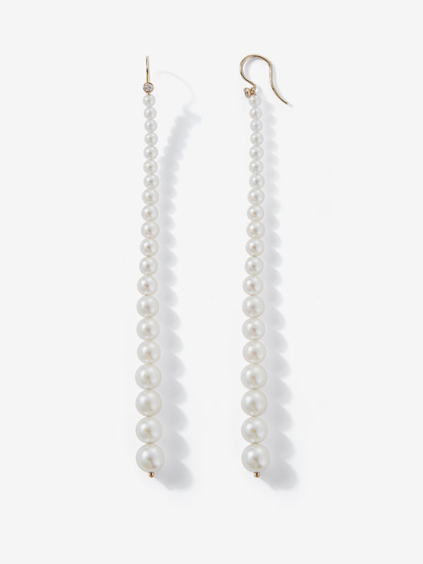 Sea of Beauty Collection. Graduated Pearl with diamond Shoulder Duster Earrings SBE279