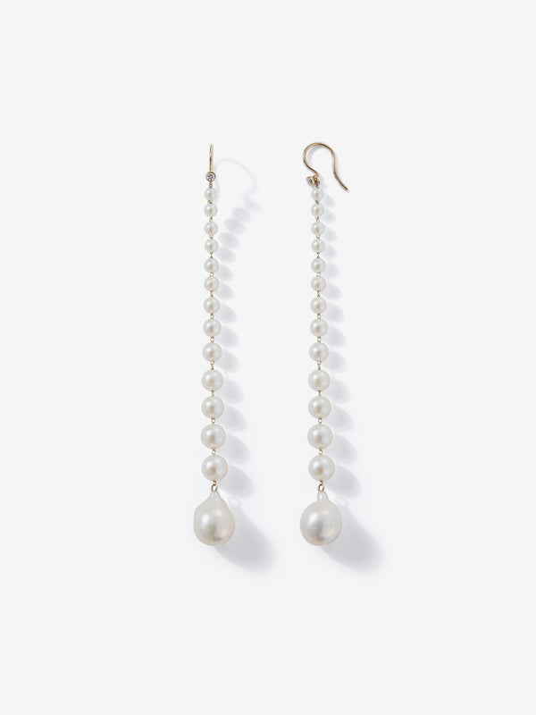 Sea of Beauty Collection. Graduated Pearl with diamond Shoulder Duster Earrings SBE280