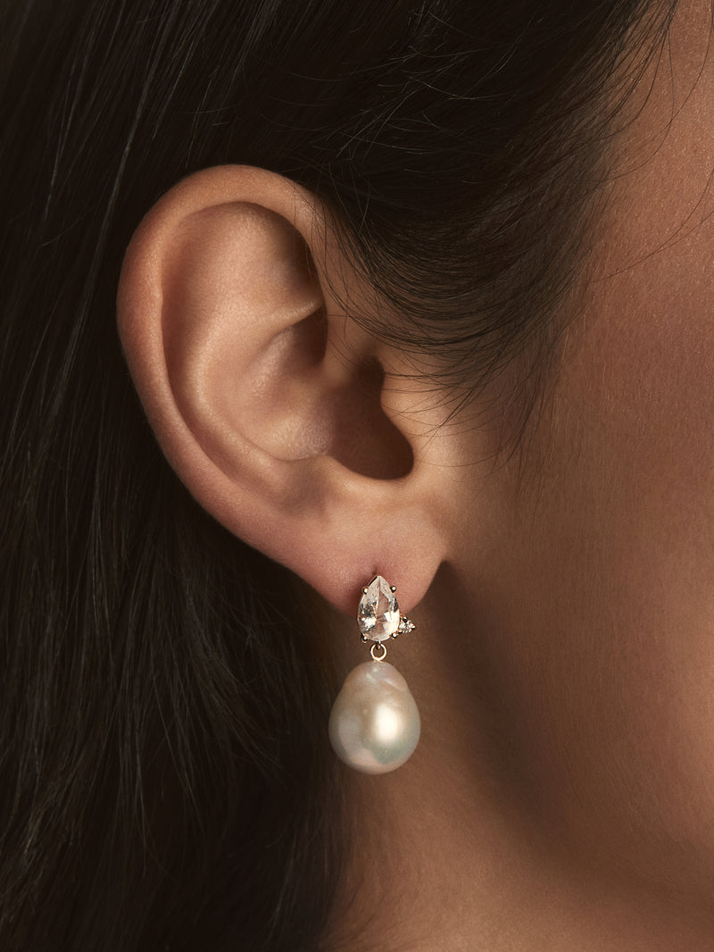 White Topaz with Diamond and Pearl Earings SBE294