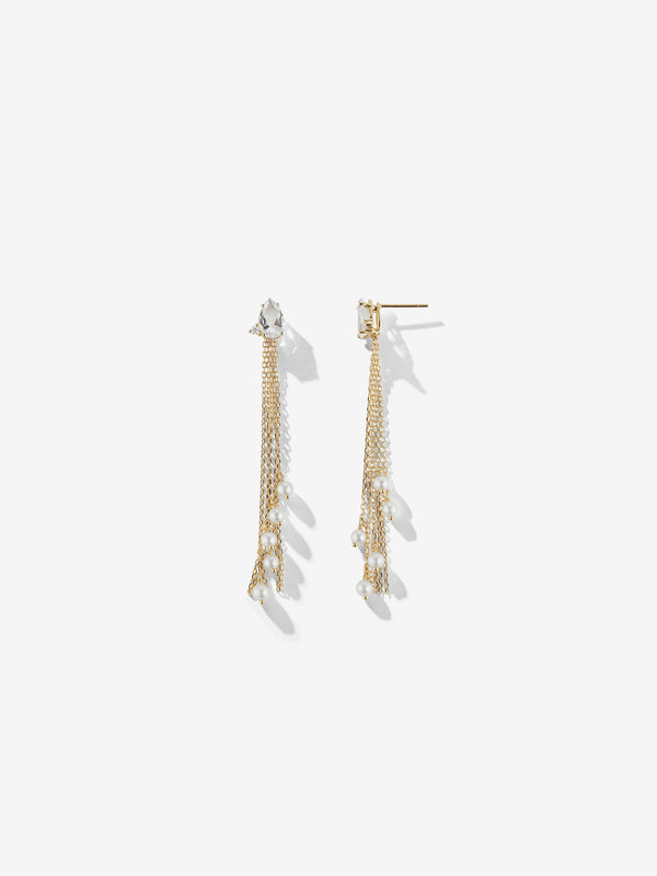 White Topaz and Diamond with Pearl Fringe Earrings SBE298