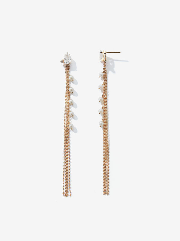 White Topaz and Diamond Long Pearl Fringe Earrings SBE300
