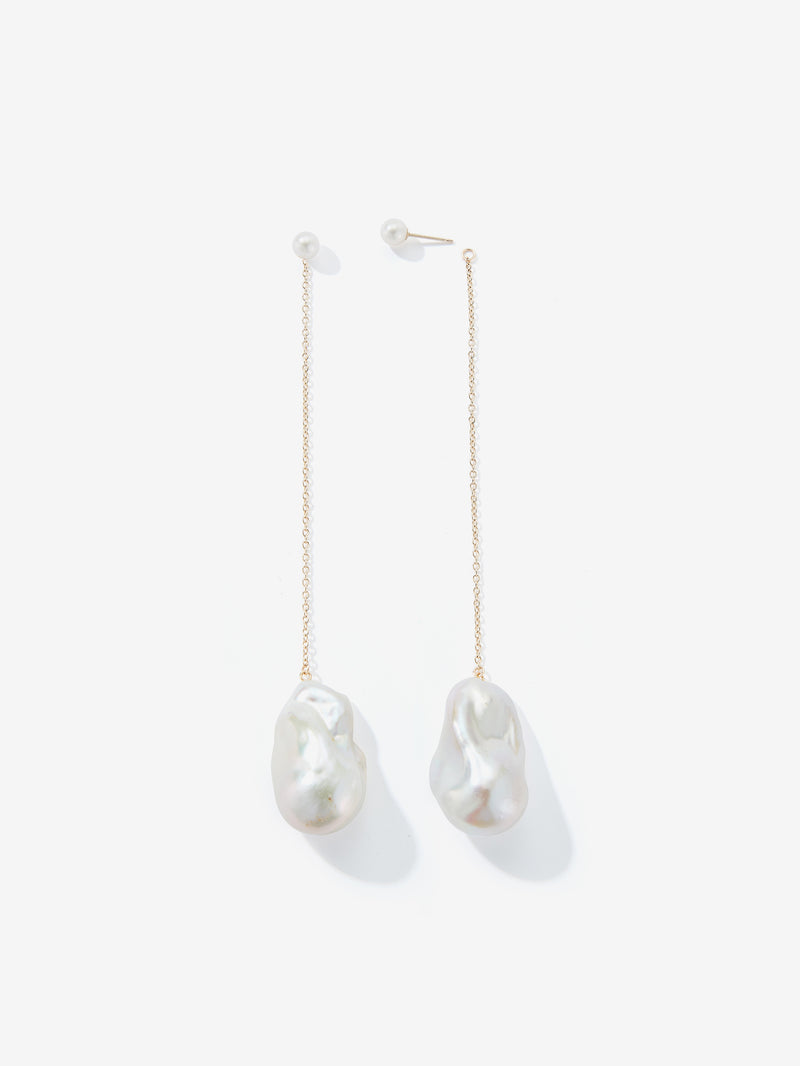 Long Chain Baroque Pearl Drop Earrings SBE307