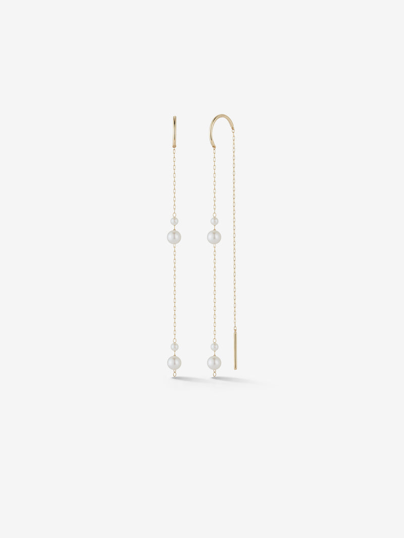 Kissing Double Pearl Long Threader Earrings SBE322