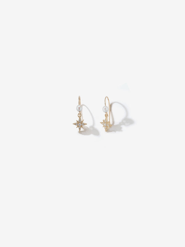 Small Diamond Star and Pearl Earrings SBE325A
