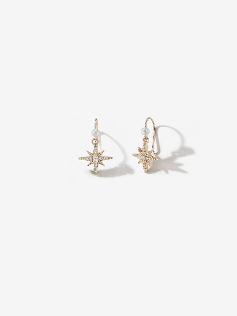 Medium Diamond Star and Pearl Earrings SBE325B