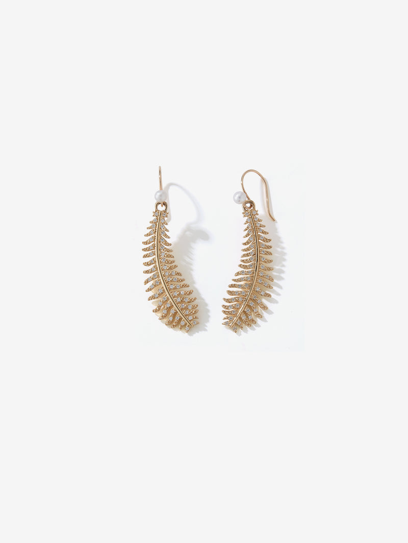 Medium Diamond Feather and Pearl Earrings SBE325E
