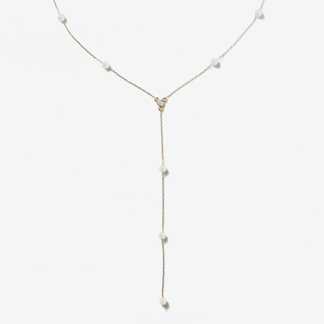 Sea of Beauty Collection.  Pearl Chain Y and Diamond Necklace