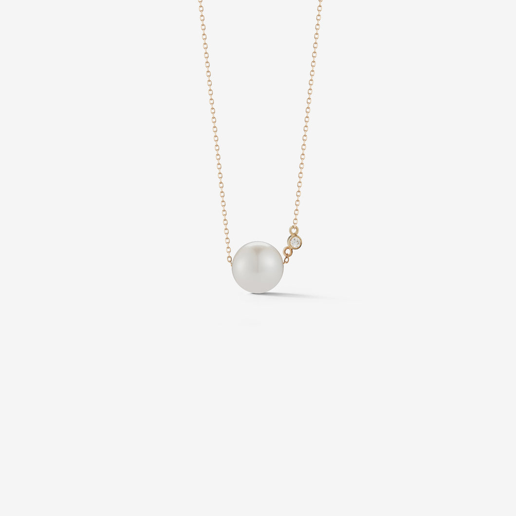 Sea of Beauty Collection.  Pearl Solitaire with Diamond Necklace