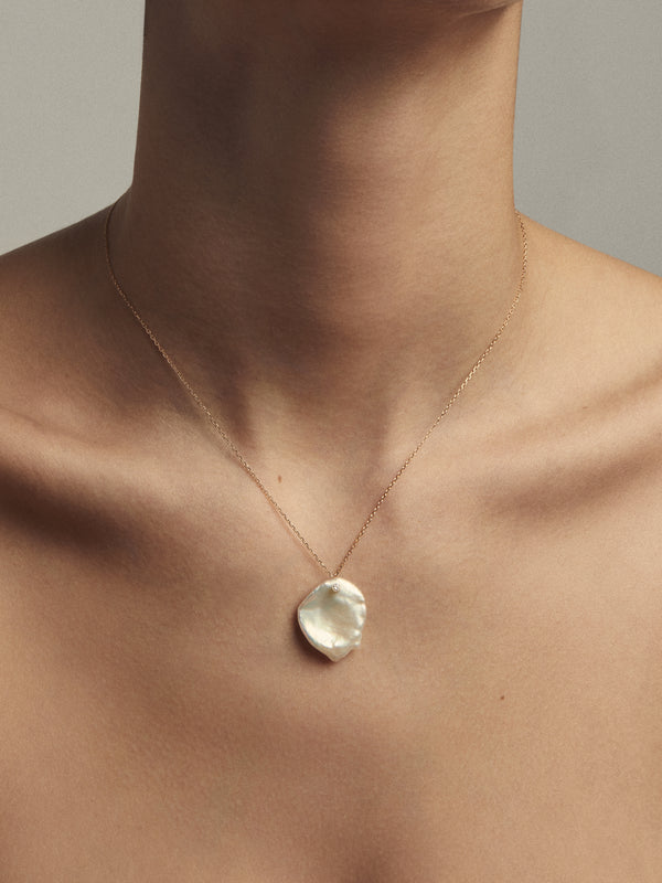 Sea of Beauty Collection.  Petal Pearl and Diamond Necklace  SBN160