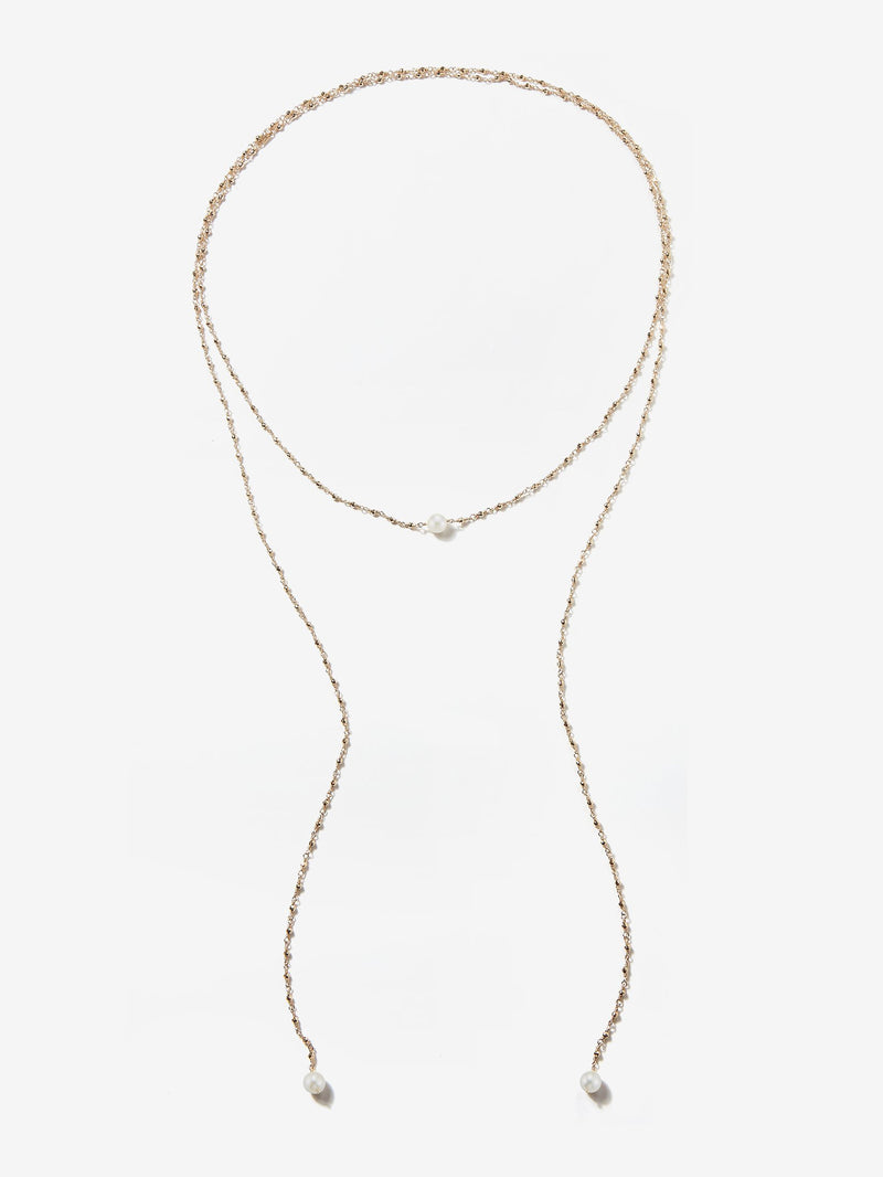 Sea of Beauty Collection.  Long Pearl and Gold Bead Wrap Lariat Necklace  SBN194