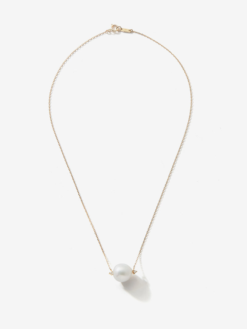 Sea of Beauty Collection.  Pearl and Diamond Solitaire Necklace SBN203