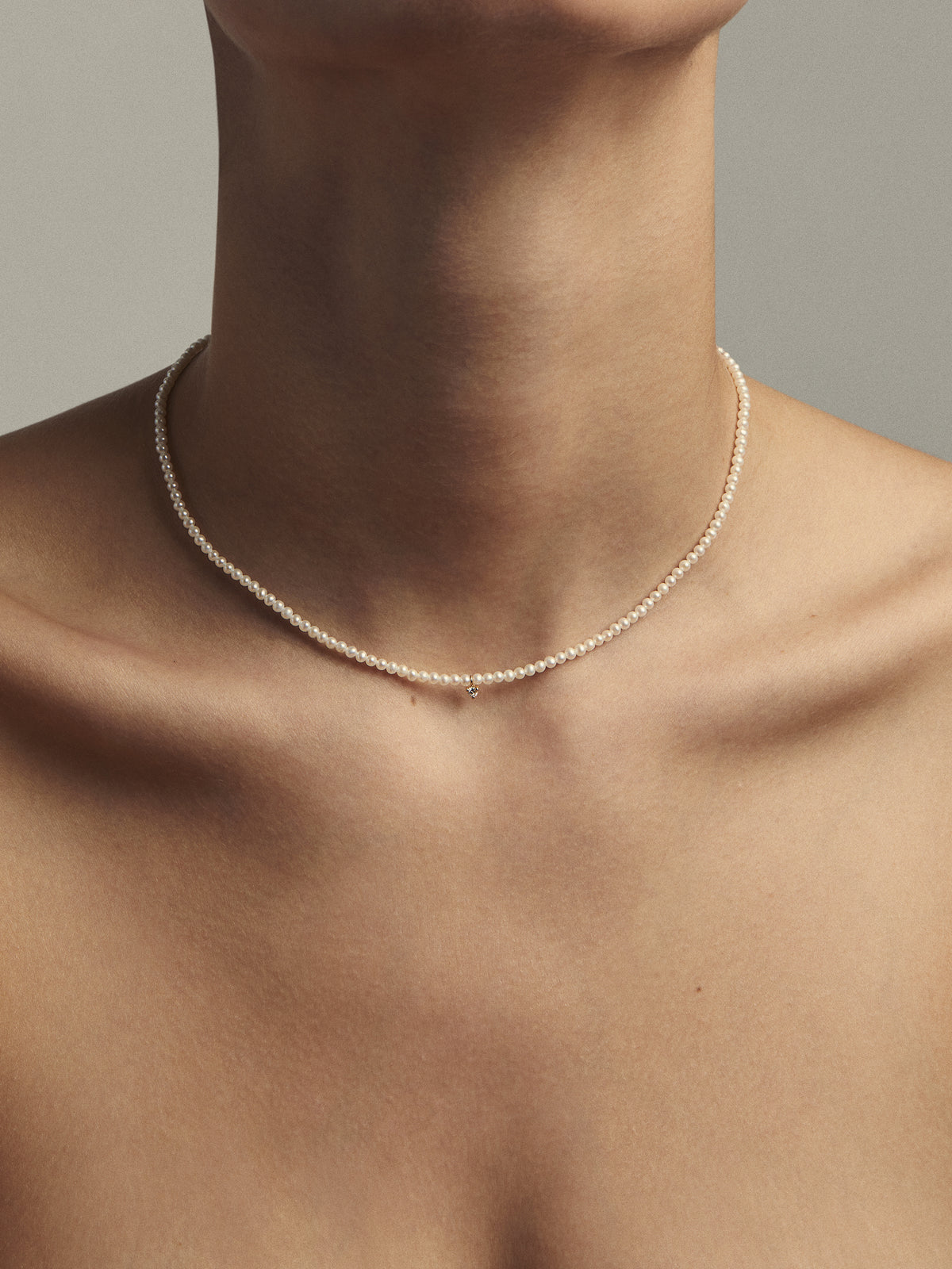 Sea of Beauty Collection.  Pearl Choker and Diamond Necklace SBN205