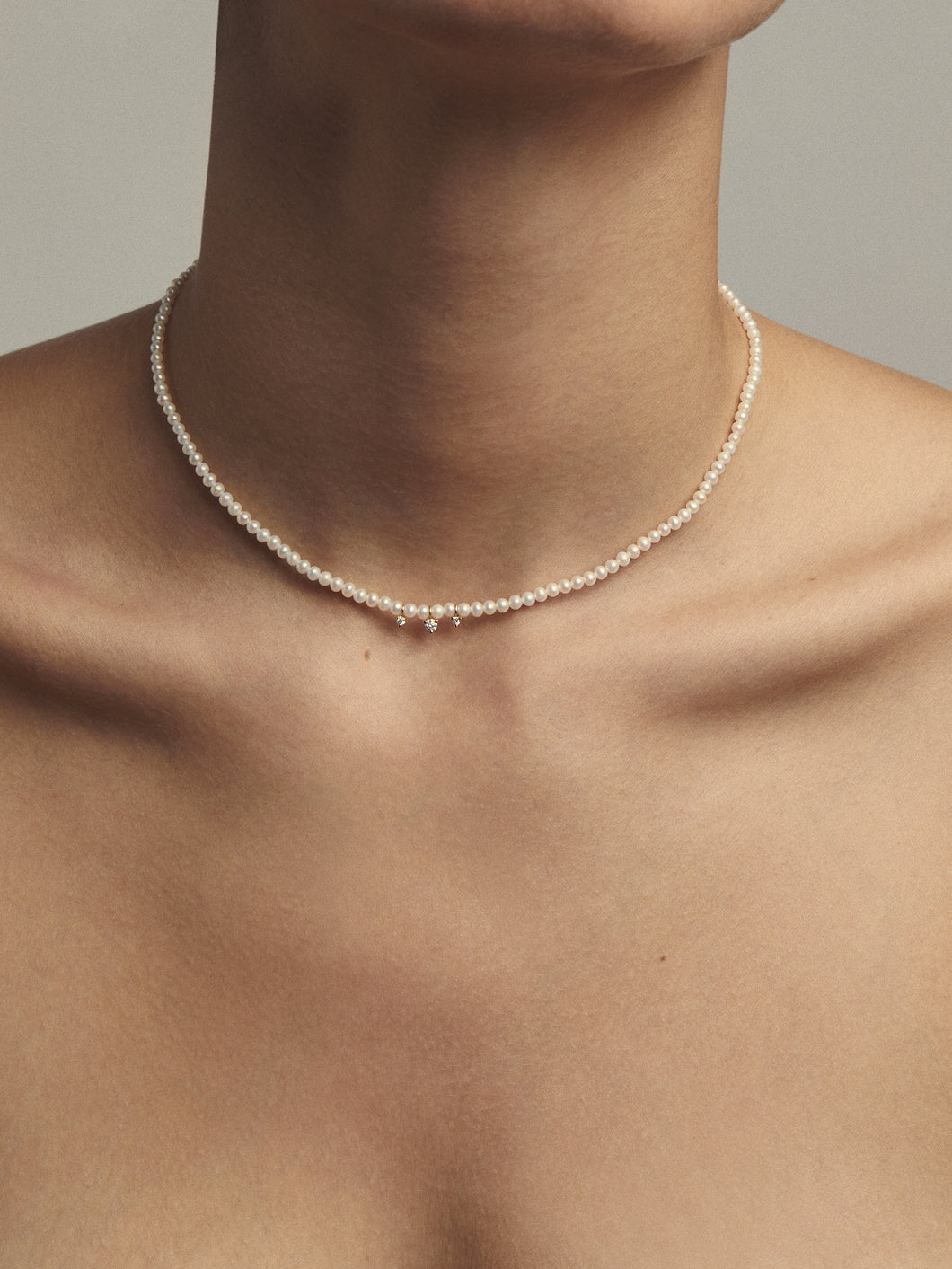 Sea of Beauty Collection.  Pearl Choker and Three Diamond Necklace SBN206