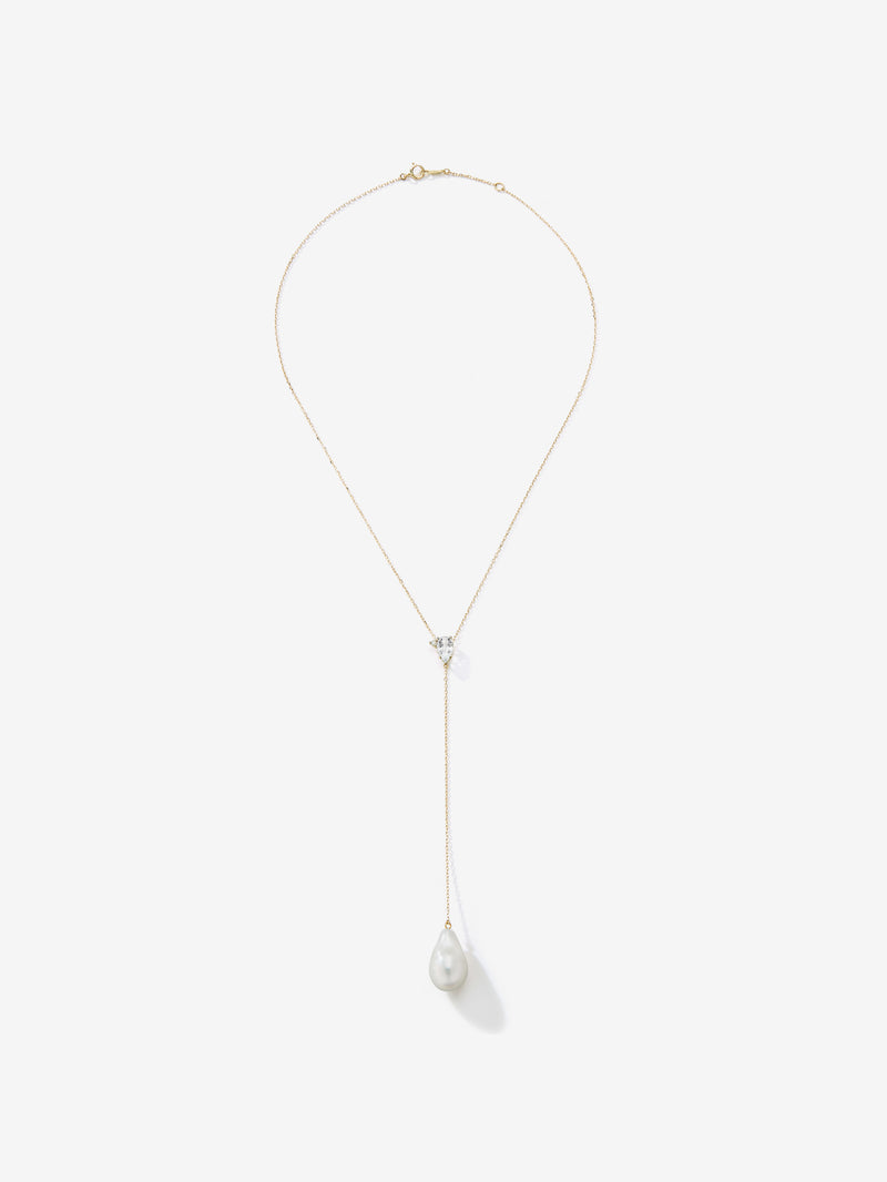 White Topaz and Diamond with Barouque Pearl Chain Drop Necklace SBN225