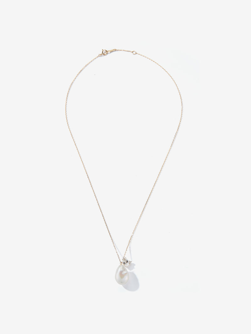 White Topaz and Diamond with Barouque Pearl Drop Necklace SBN226