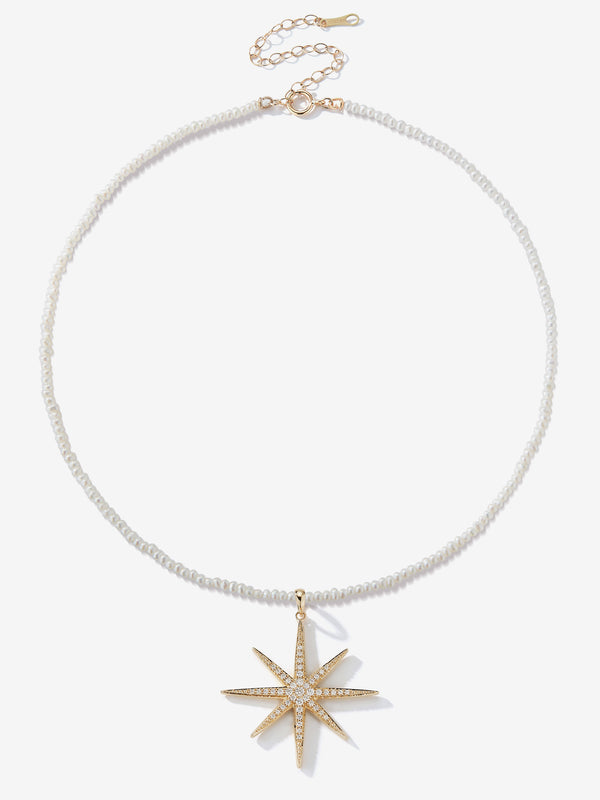 Dancing Pearl with Large Diamond Star Necklace SBN243C