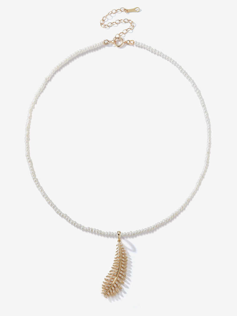 Dancing Pearl with Medium Diamond Feather Necklace SBN243E