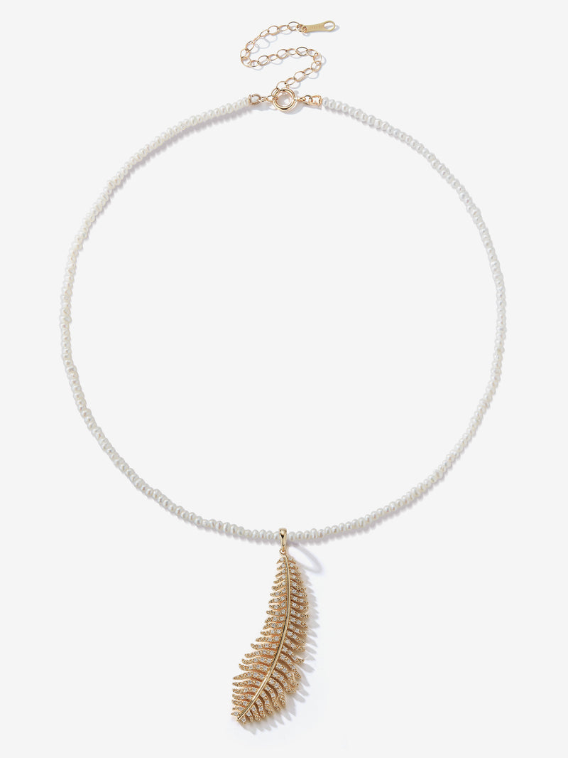 Dancing Pearl with Large Diamond Feather Necklace SBN243F